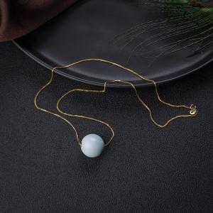 18K中高瓷浅蓝绿松石圆珠项链