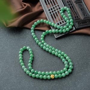 7mm糯冰种豆绿翡翠项链