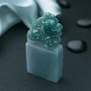 糯種藍水翡翠貔貅印章