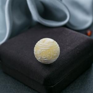 20mm白花蜜蜡回纹珠