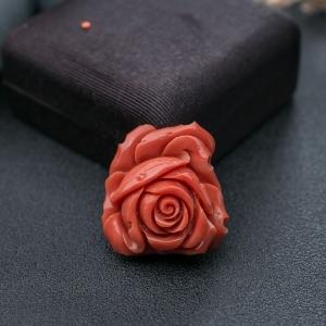 MOMO珊瑚玫瑰花戒面
