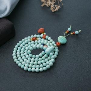 6mm中高瓷铁线蓝绿绿松石多圈手串