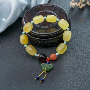 檸檬黃金絞蜜隨形單圈手串