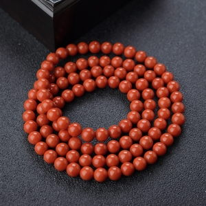 6.5mm柿子红南红108佛珠