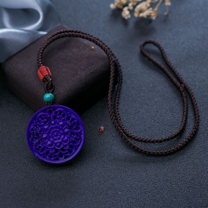紫藍色青金石纏枝蓮圓牌吊墜
