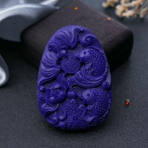 紫藍色青金石年年有余吊墜