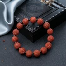柿子红南红富甲珠单圈手串