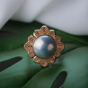 18K海水紫色珍珠戒指