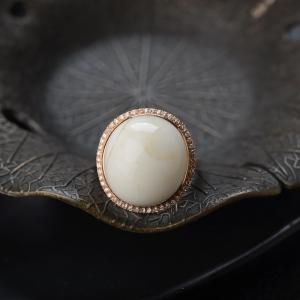 18K瓷白白蜜戒指