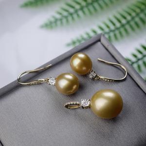 18K海水金色珍珠套装(两件)