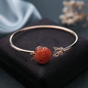56mm18K柿子红南红玫瑰花手镯
