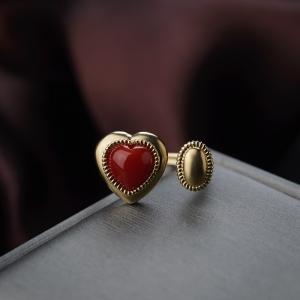 18K阿卡珊瑚心形戒指