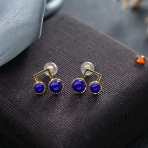 18K深藍色青金石耳釘