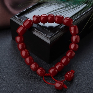 阿卡牛血紅珊瑚桶珠單圈手串