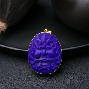 18K紫蓝色青金石兽面吊坠