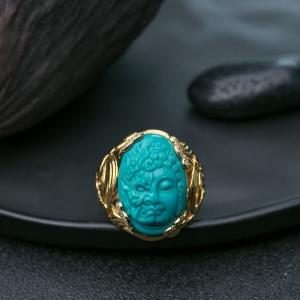 18K中高瓷蓝绿松石一念之间戒指