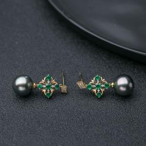 18K海水孔雀绿色珍珠耳坠