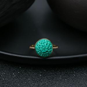 18K高瓷绿色绿松石花戒指