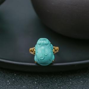 18K中高瓷浅蓝绿松石貔貅戒指