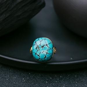 18K高瓷铁线蓝绿松石戒指