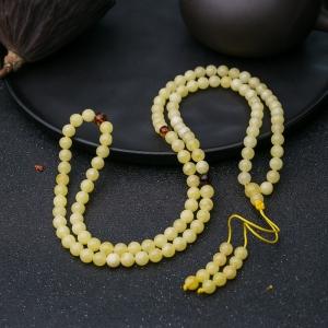 6.5mm柠檬黄蜜蜡108佛珠