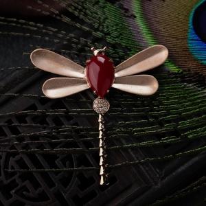 18K阿卡珊瑚蜻蜓吊坠/胸针两用款