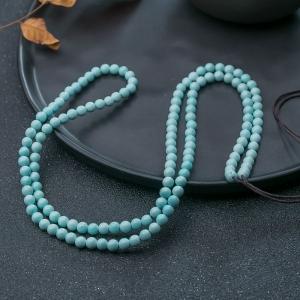 5mm中高瓷鐵線淺藍綠松石多圈手串