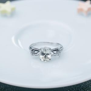 18K无色蓝宝石戒指