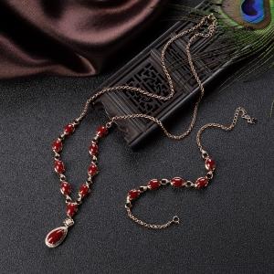 18K阿卡牛血红珊瑚项链/手链套装