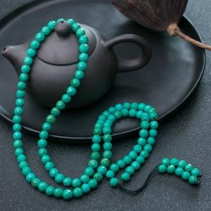 中瓷铁线蓝绿绿松石108佛珠