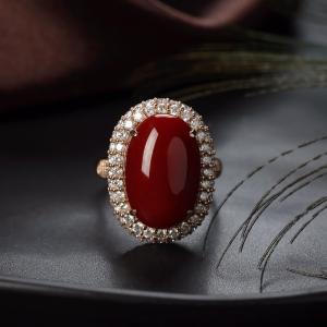 18K阿卡牛血紅珊瑚戒指