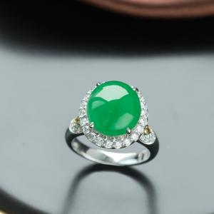 18K冰種陽綠翡翠戒指