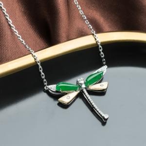 18K糯冰種翠綠翡翠蜻蜓項鏈