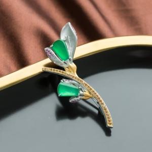 18K冰種陽綠翡翠花胸針