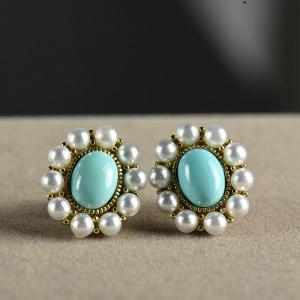 银镶中高瓷蓝色绿松石耳钉