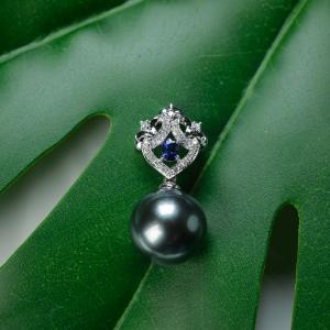 18K海水孔雀绿色珍珠吊坠