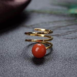 18K櫻桃紅南紅戒指