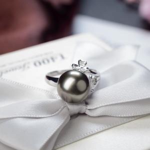 18K海水黑色珍珠戒指