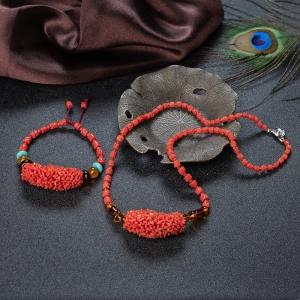 沙丁珊瑚项链/手串套装