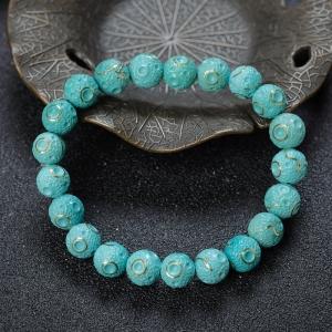 8mm中高瓷蓝绿绿松石单圈手串