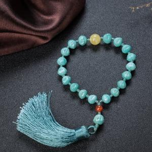 高瓷蓝绿绿松石佛头珠手持