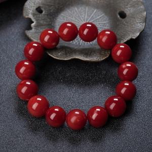 13mm阿卡牛血紅珊瑚單圈手串