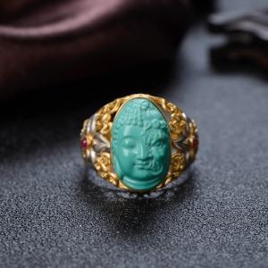 18K高瓷蓝绿绿松石一念之间戒指