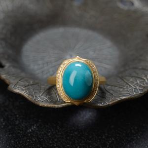 18K高瓷蓝绿松石戒指