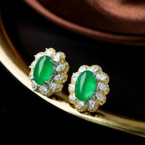 18K冰種陽綠翡翠耳釘