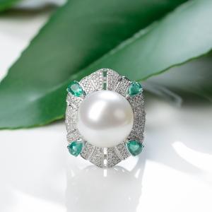 18K白色珍珠戒指