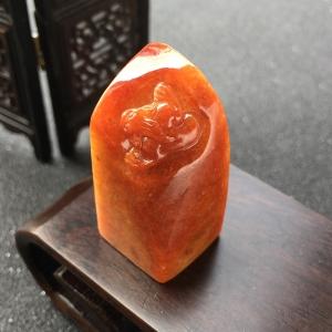 糯种红翡翡翠金蟾印章
