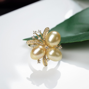 18K海水金色珍珠戒指