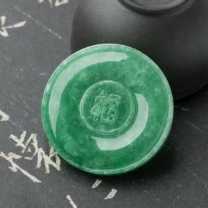 糯种豆绿翡翠戒面