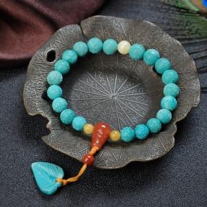 中高瓷铁线蓝绿绿松石回纹珠单圈手串